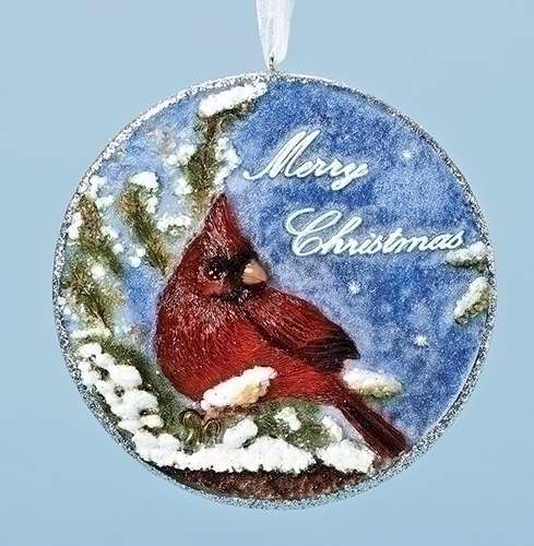 "Ornament-Disk-Cardinal w/Verse-Merry Christmas (4.25"")"