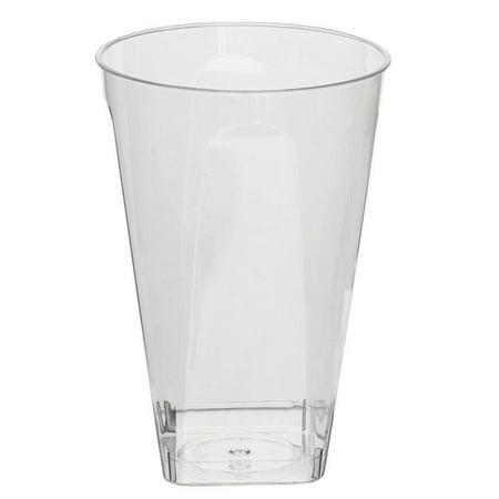BalsaCircle 12 pcs 10 oz Disposable Plastic Square Bottom Tumblers Cups - Clear - Plastic Cocktail Cups