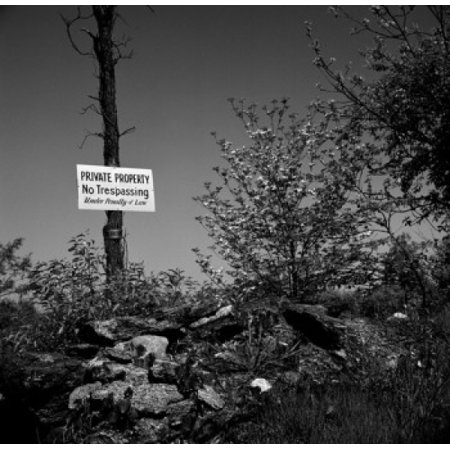 Private Property Warning Sign On Tree Poster Print