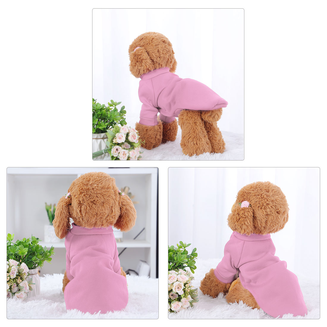 Cotton Blend Dog Winter Sweatshirt Pet Clothes Fleece Lined Warm Coat Pink XL - image 1 of 7