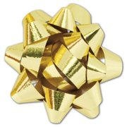 Deluxe Small Business Sales 256-01116-15M 1.25 in. Jewelers Star Bows, Metallic Gold