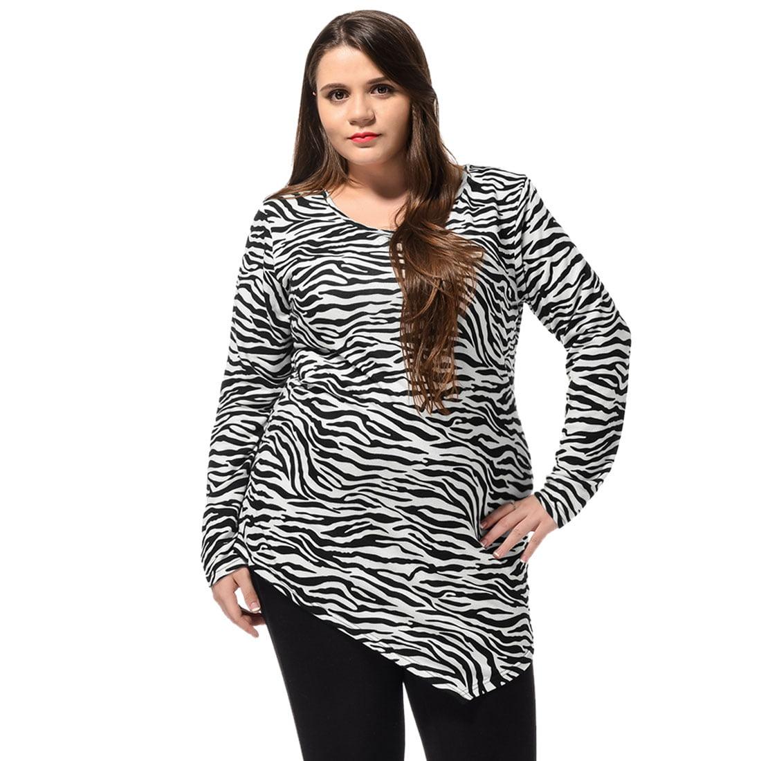 Unique Bargains Women's Plus Size Zebra Print Irregular Hem Long Sleeves Tunic Top Off-White (Size 3X)