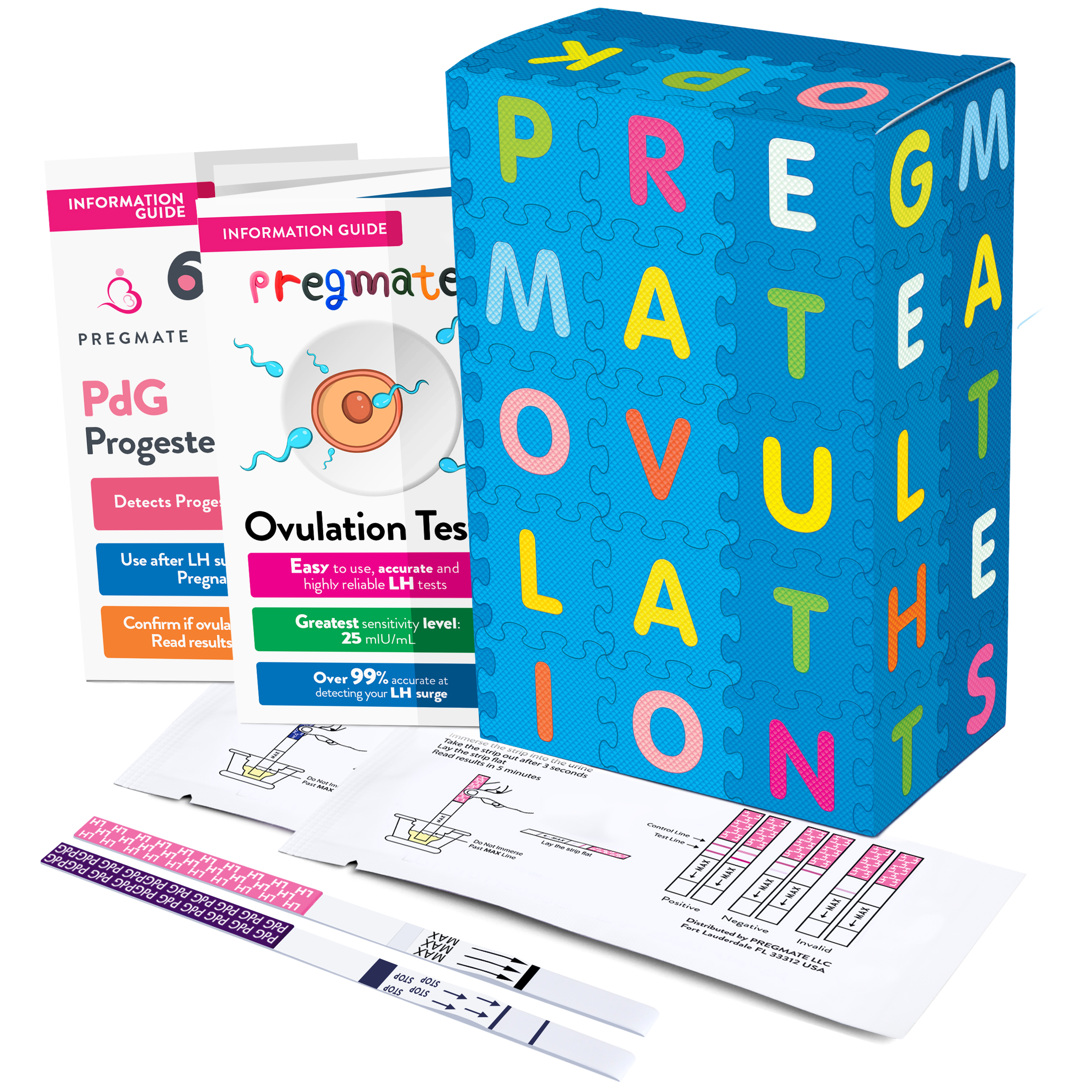 PREGMATE 10 Ovulation (LH) and 2 Progesterone (PdG) Urine Test Strips At Home Fertility Confirmation Predictor Kit (10 LH + 2 PdG)