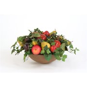 DDI 5093 Faux Fruit Abundance Nestled with Foliage in an Olive Washed Bowl