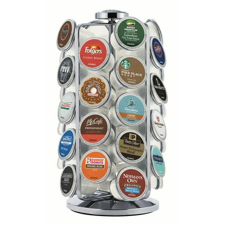 Keurig 36ct K-Cup Pod Storage Carousel Keurig Coffee Pod Storage Carousel, Holds and Organizes 36 K-Cup Pods, Chrome (Keurig Cup Holder Wood)
