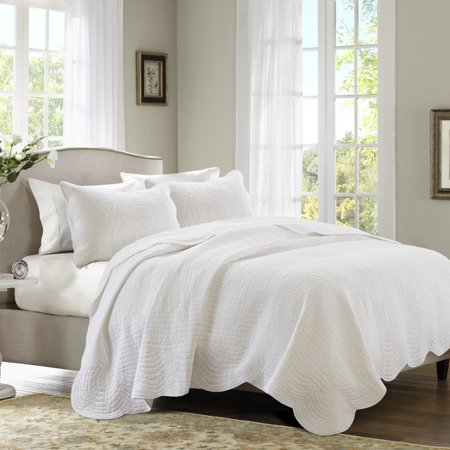 Genoa Full/Queen 3pc Scalloped Edge Coverlet Set White