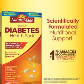 Nature Made Daily Diabetes Health Pack 60 Packets 60 Day Supply