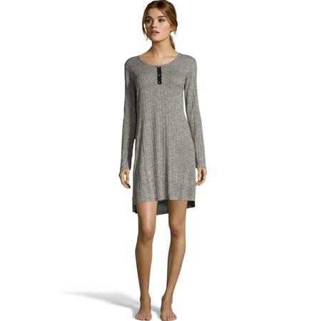Hanes Womens Cozy Rib Sleepshirt, S, Heather (Cozy Nightgown)