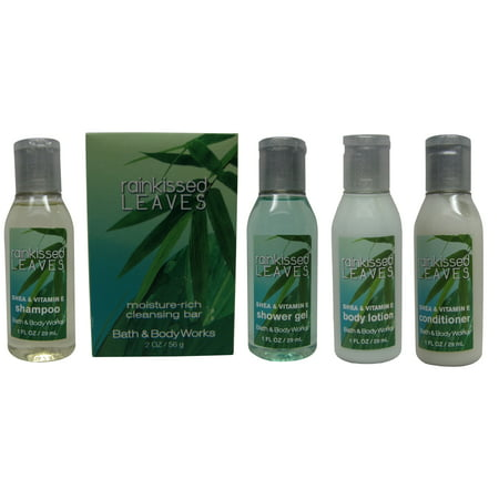 Bath Body Works Rainkissed Leaves Travel Set 1 Shampoo, 1 Conditioner, 1 Lotion, 1 Gel, & 1 Soap