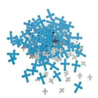 Foil Radiant Cross Confetti, Blue, 0.5oz