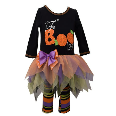 Bonnie Jean Girls Black Faboolous Halloween Legging Set 3T