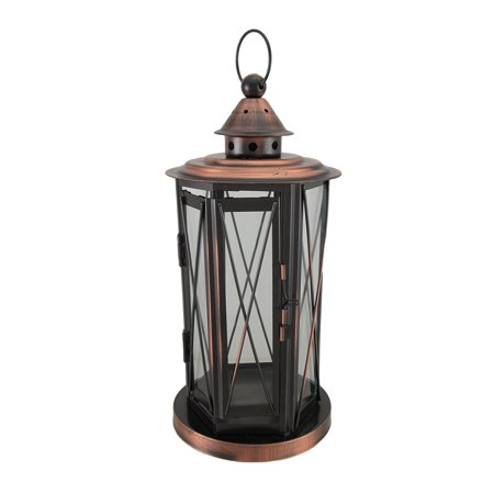 Polished Antique Copper Finish Metal and Glass Candle Lantern - Copper Lanterns