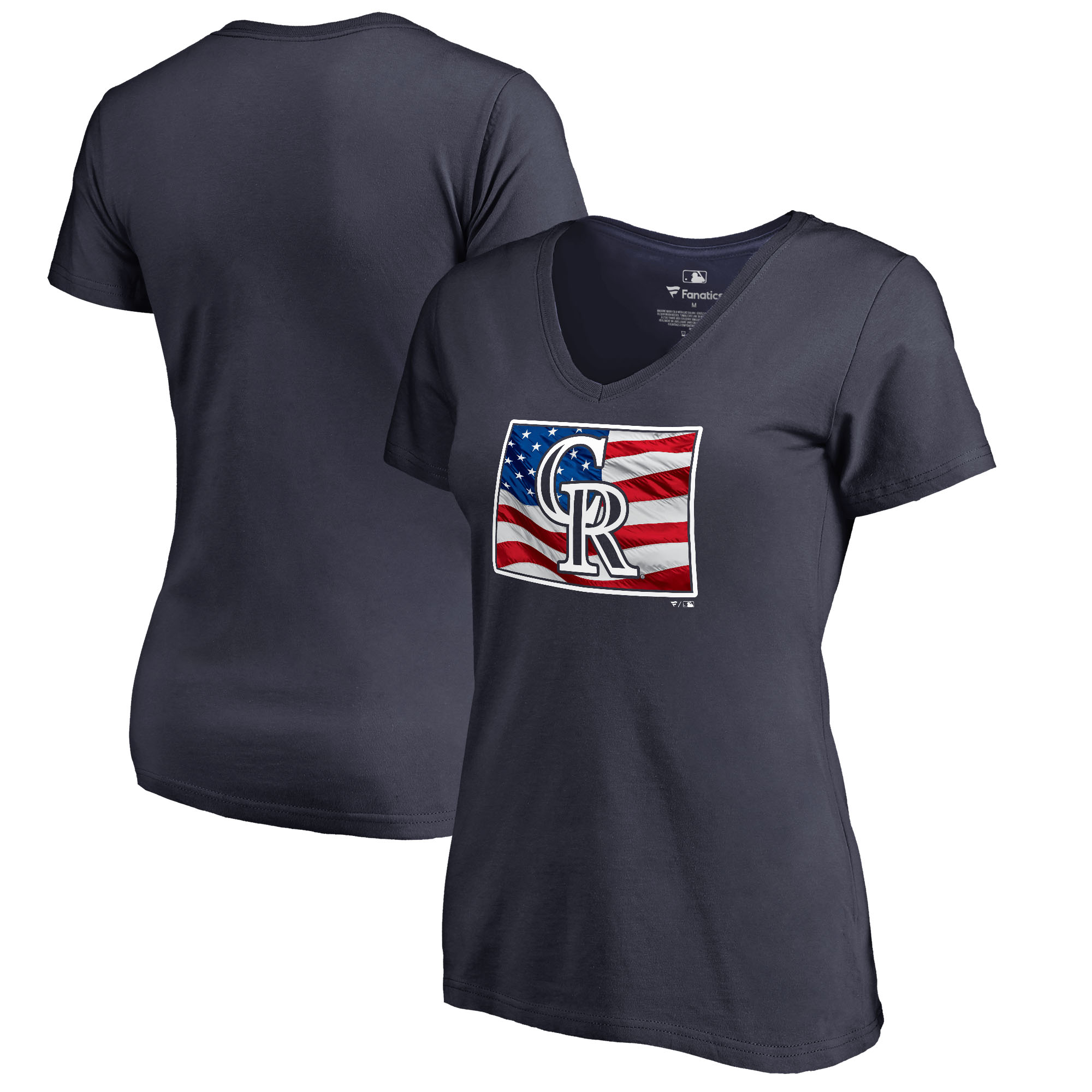 Colorado Rockies Fanatics Branded Women's 2018 Memorial Day Banner State Plus Size V-Neck T-Shirt - Navy