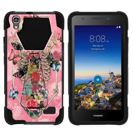 Case for Huawei Pronto LTE   Huawei SnapTo LTE Hybrid Cover [ Shock Fusion ] High Impact Shock Resistant Shell Case + Kickstand - Rose Flower Skeleton