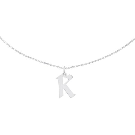 "Sterling Silver Medium Artisan Block Initial K Charm, 18"" Chain"