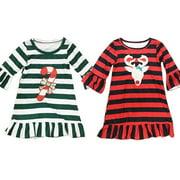 Xmas Toddler Kids Baby Girl Striped Dress Christmas Deer Tutu Dresses Dresses