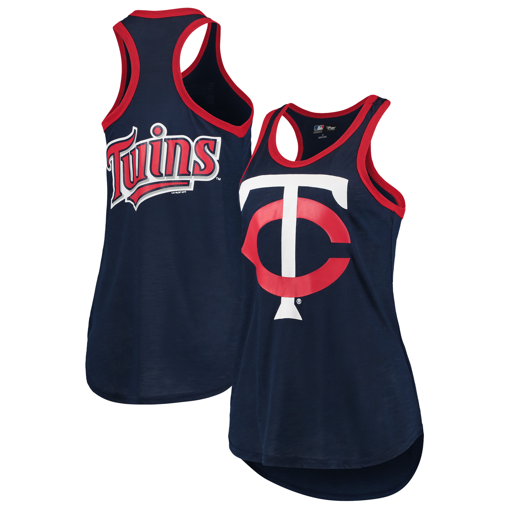 Minnesota Twins G-III 4Her by Carl Banks Women's Team Logo Tater Racerback Tank Top - Navy
