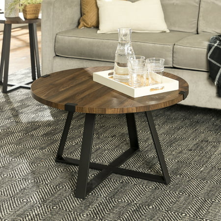 Manor Park Rustic Round Wood and Metal Coffee Table - Dark Walnut/Black