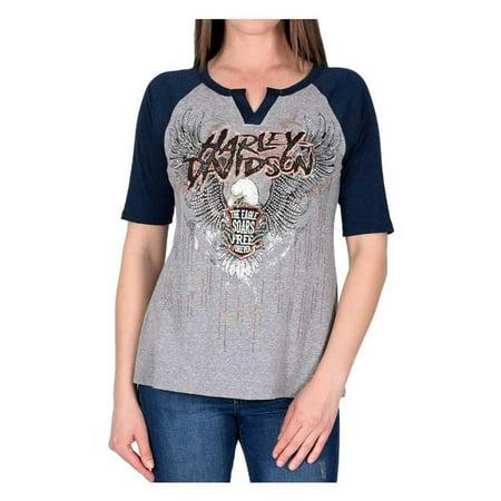Embellished Raglan (Harley-Davidson Women's Soar Free Forever Embellished Raglan Sleeve Tee, Gray, Harley)