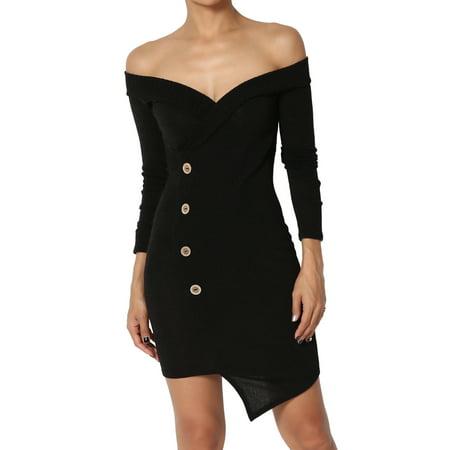 477252a037 TheMogan - TheMogan Junior's Cozy Sexy Plunge V-Neck Off Shoulder Bodycon  Wrap Knit Dress - Walmart.com