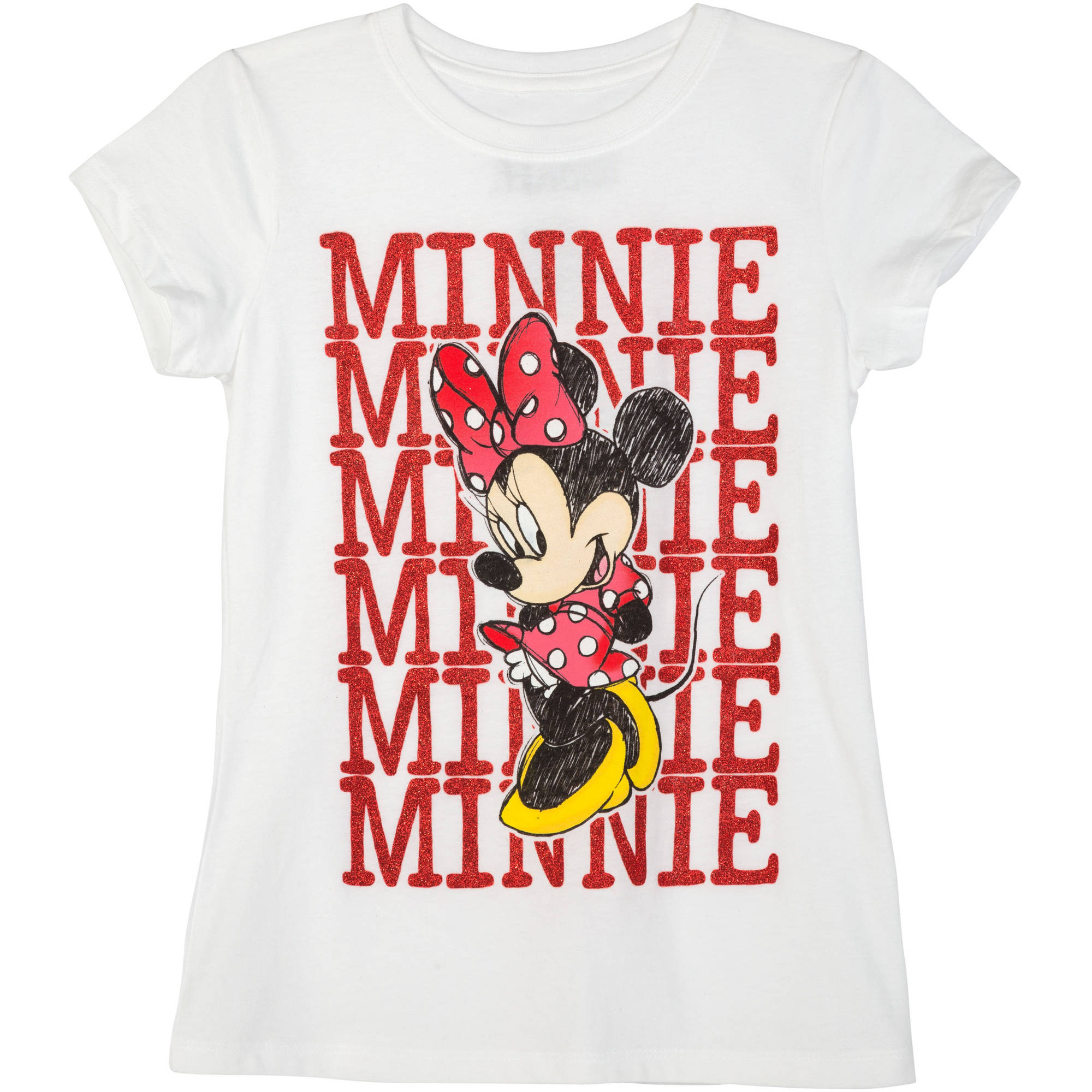 Minnie Mouse Girls' Minnie Repeat Short Sleeve Crew Neck Graphic Tee