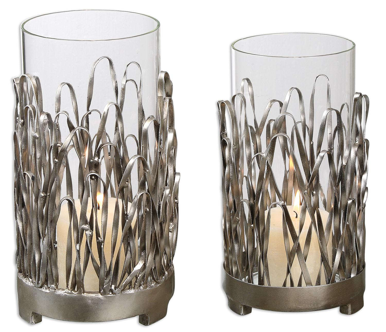 Set Of 2 Silver Metal Clear Glass Hurricane Pillar Candle Holders 10 Walmart Com Walmart Com
