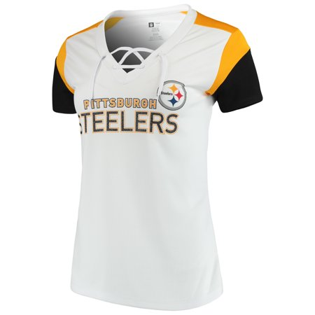Women s Majestic White Gold Pittsburgh Steelers Shimmer Lace-Up V-Neck T- Shirt - Walmart.com 8e19f998fed0
