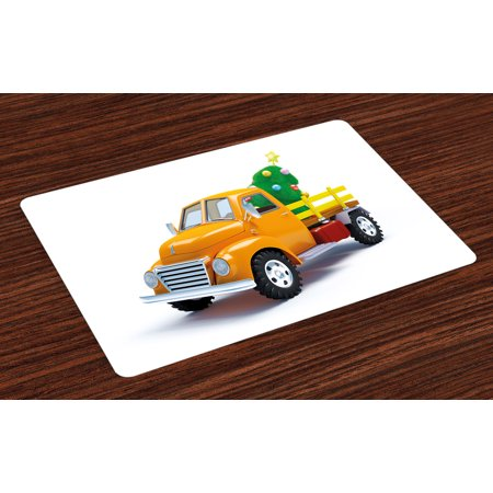 Car Christmas Tree Topper.Christmas Placemats Set Of 4 Yellow Vintage Truck And Tree Design With Star Topper Old Farm Vehicle Washable Fabric Place Mats For Dining Room