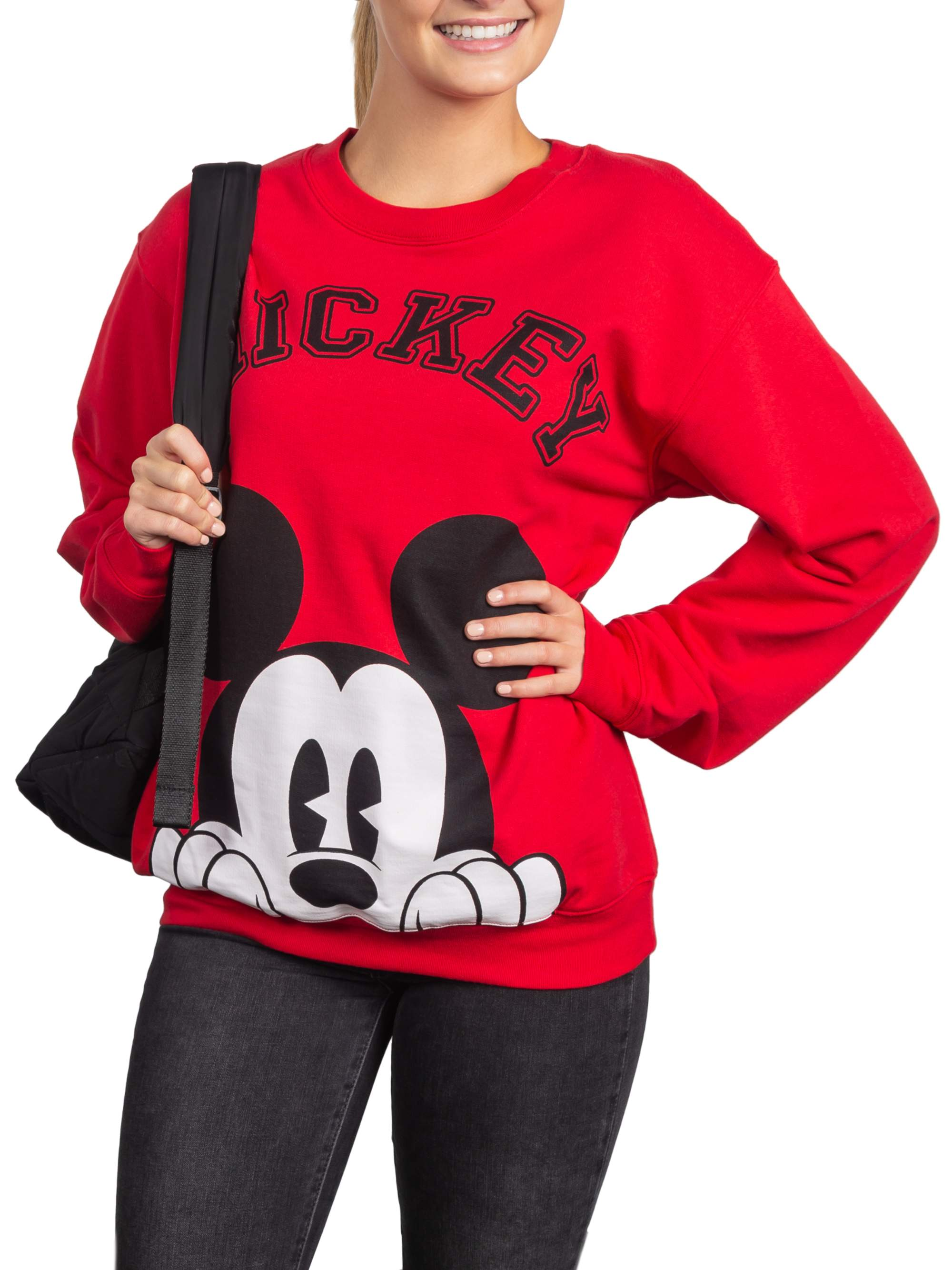 Juniors' Licensed Mickey Face Graphic Pullover Sweatshirt