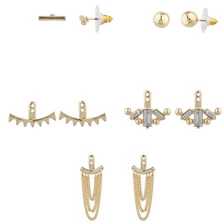 Lux Accessories Goldtone Geo Miss Match Ear Jacket Multi Earring Set (Earring Jacket Set)