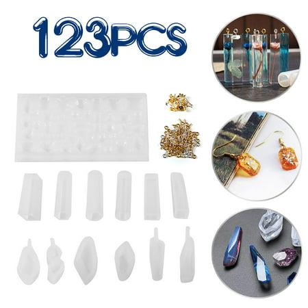 123Pcs DIY Geometric Resin Casting Molds UV Shape Ear Stud Silicone Craft Making Pendant Mould Screw Eye Pins Kit Handmade Craft
