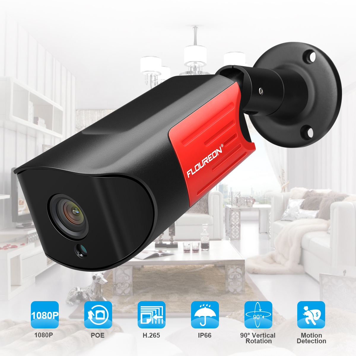 FLOUREON WiFi Video Monitoring Security Wireless IP Camera, 1080P 2.0MP POE IP Camera with 4mm Lens, 50ft Night Vision, Motion Detection, Remote View