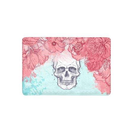 MKHERT Halloween Watercolor Skull with Peony Rose and Poppy Flowers Doormat Rug Home Decor Floor Mat Bath Mat 23.6x15.7 inch