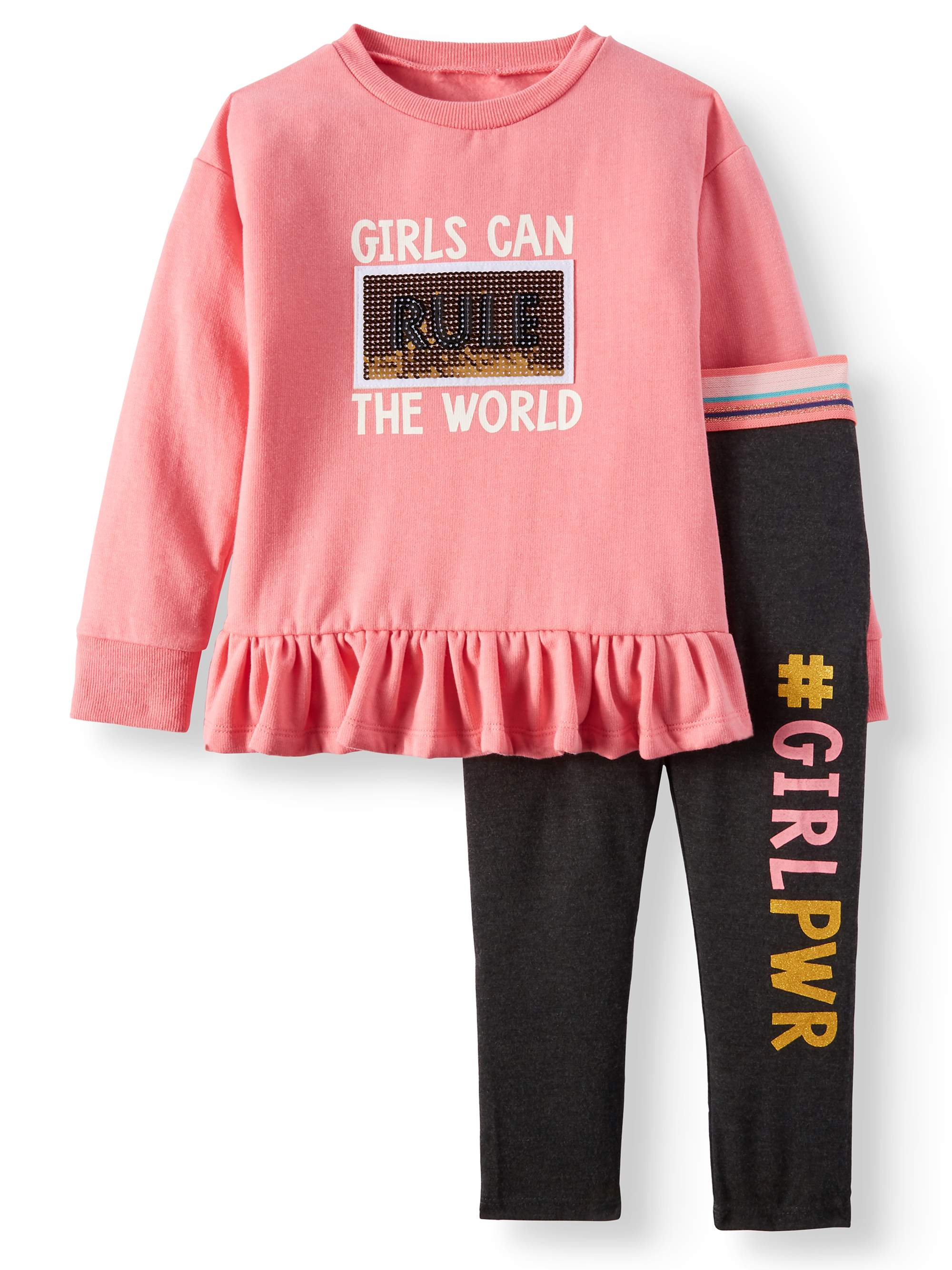 FOREVER ME Little Girls' Girls Rule the World Sequin Tunic and Leggings, 2-Piece Outfit Set