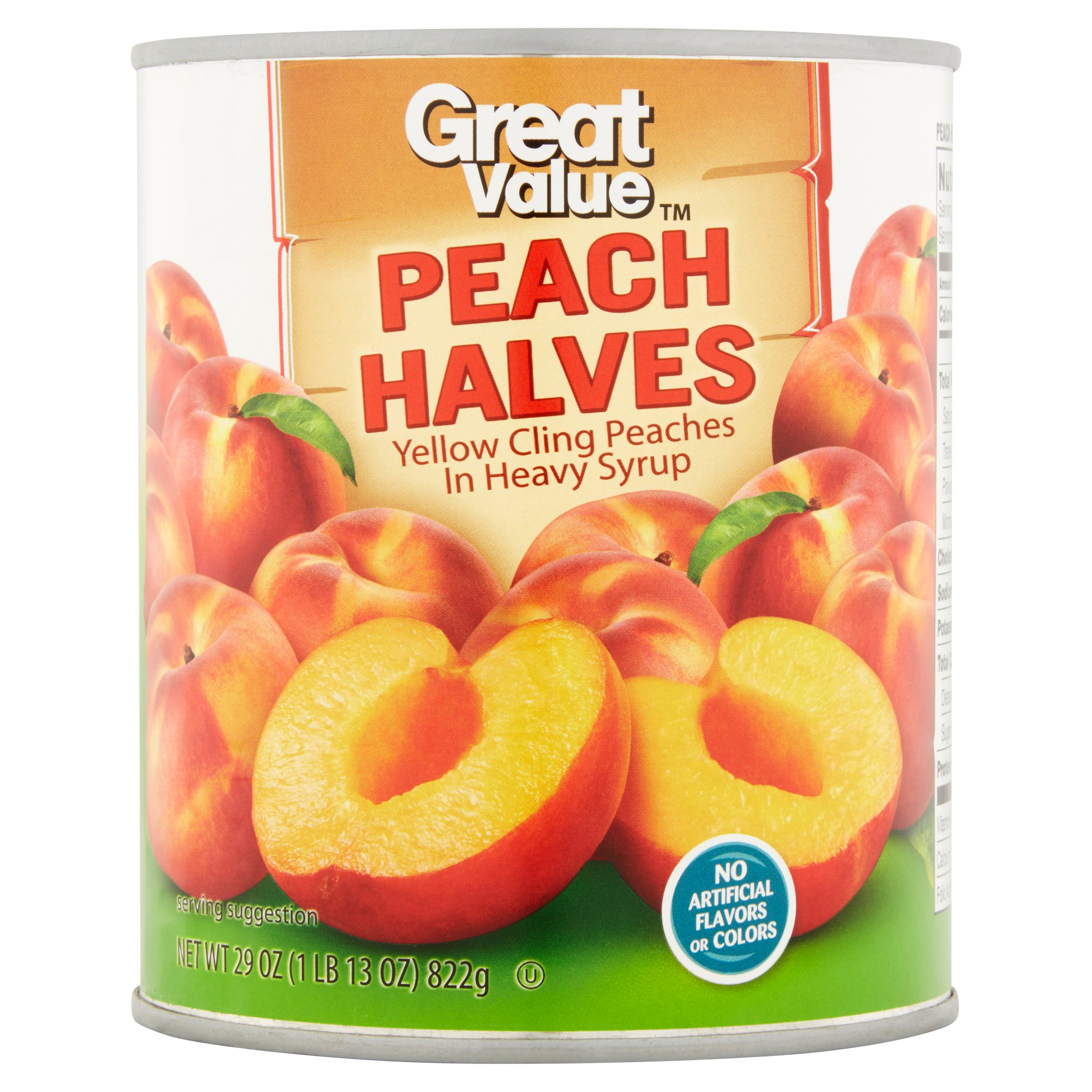 Great Value Peach Halves In Heavy Syrup, 29 Oz