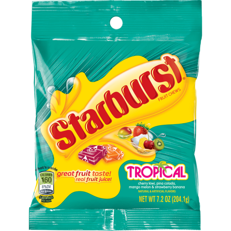 Starburst Tropical Fruit Chews Candy Bag  7 2 Ounce