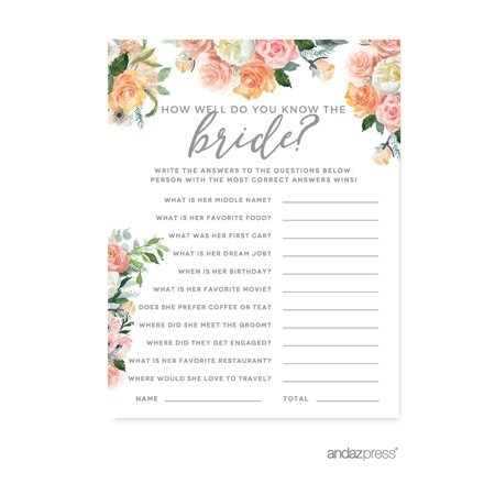 Peach Coral Floral Garden Party, How Well Do You Know the Bride? Bridal Shower Game Cards, - Coral Bridal Shower Decorations