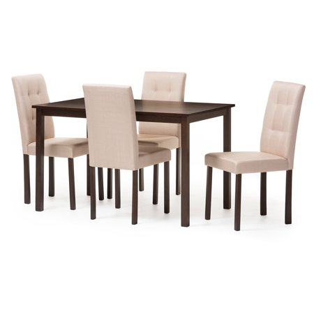 Baxton Studio Andrew Modern and Contemporary 5-Piece Upholstered Grid-tufting Dining Set, Multiple (Modern Seat)
