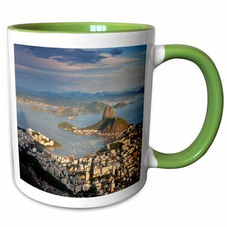 3dRose View over Sugarloaf mountain in Guanabara Bay, Rio de Janeiro - Two Tone Green Mug, 11-ounce