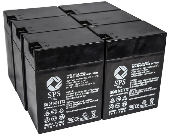 SPS Brand 6 V 14 Ah Replacement Battery with Terminal T1T2 for Siemens LEM (6 PACK) by Sigma Power Systems