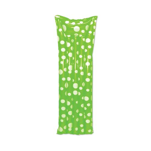 """72"""" Lime Green Polka Dotted Inflatable Swimming Pool Air Mattress"""