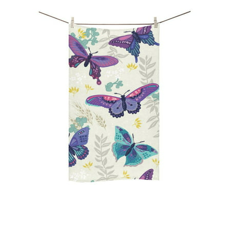 MKHERT Abstract Butterfly Seamless Vintage Flower Pattern Bath Towel Shower Towel Wash Cloth Face Towels 16x28 inches