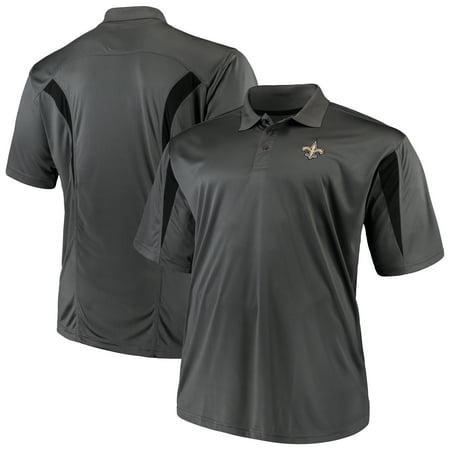 size 40 5a642 e4f9e Men's Majestic Charcoal New Orleans Saints Big & Tall Pieced Polo