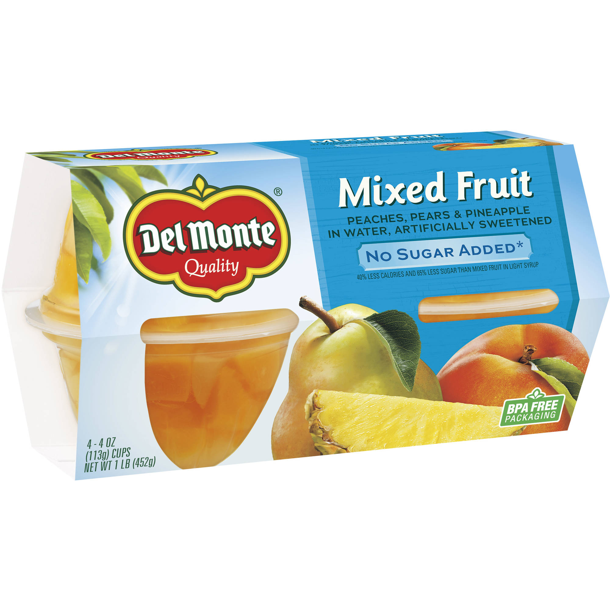Del Monte Mixed Fruit Cups No Sugar Added, 4 oz, 4 count