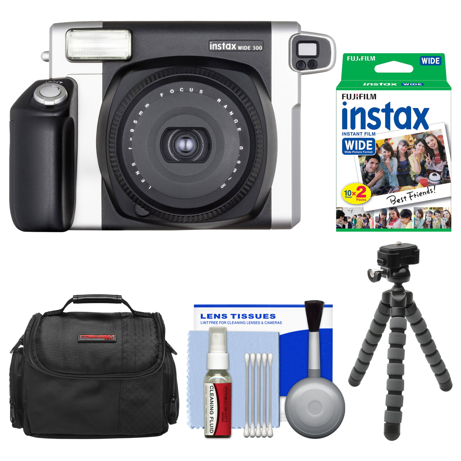 FujiFilm Instax Wide 300 Instant Film Camera with 20 Wide Twin Prints + Case + Flex Tripod + Kit by Fujifilm
