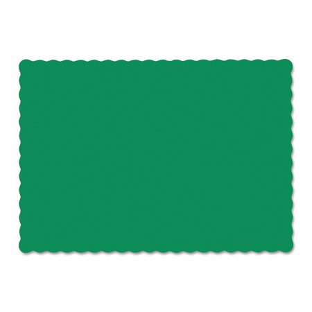 Hoffmaster Jade Solid Color Scalloped Edge Placemats, 1000 count