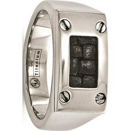 Edward Mirell Titanium Black Leather Insert Polished Ring