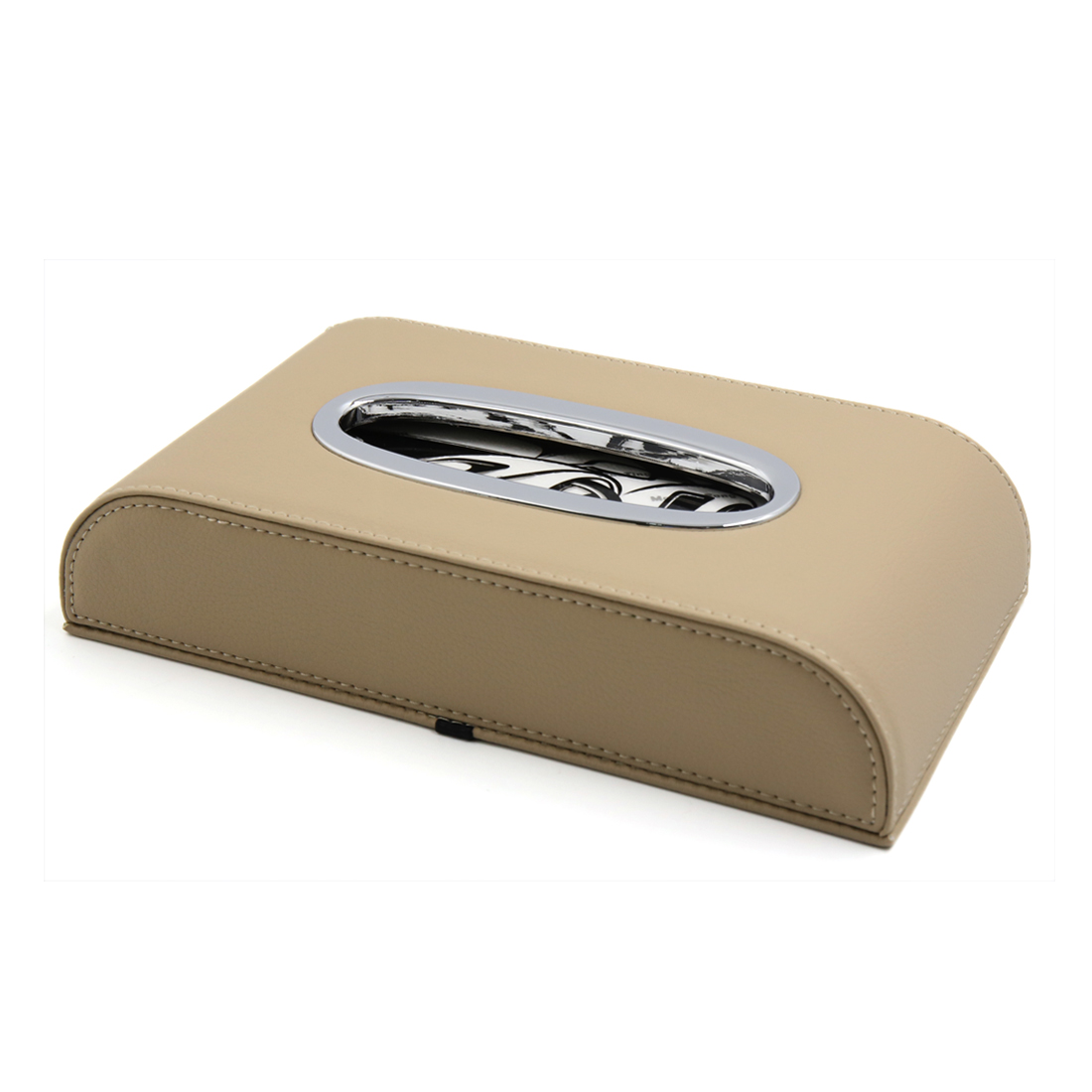 Car Auto Beige Faux Leather Facial Tissue Box Holder Napkin Storage Case Cover - image 3 of 3