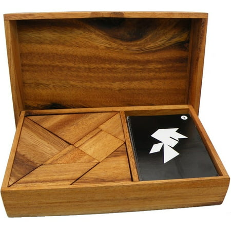 Logic Tangram Set with Play Cards Wooden Puzzle Game