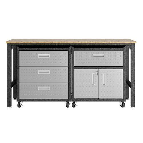 Manhattan Comfort 3-Piece Fortress Mobile Space-Saving Steel 5.0 Garage Cabinet